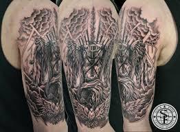 half sleeve arm tattoos knights templar black and gray half sleeve tattoo sola fidé