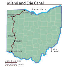 map of the erie canal miami and erie canal ohio history central