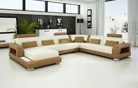 Beige Leather Sofas by Furniture Large U Shaped Light Brown And Beige Leather Sofa With