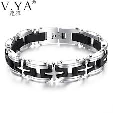 cross bracelet mens images Stainless steel cross bracelets mens link box chain accessories jpg