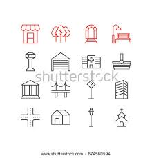 Sign Awning Vector Illustration 12 Infrastructure Icons Editable Stock Vector