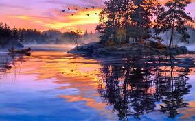 painting twilight scenery lake hd wallpaper wallpapers hd