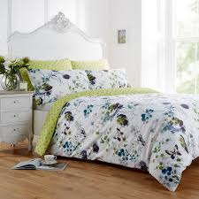 vantona clarissa floral design duvet cover set bright green