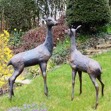 superb metal stag and doe deer garden statues