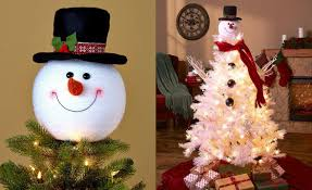 frosty snowman top hat christmas tree topper decor holiday winter