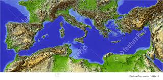 Map Projection Illustration Of Relief Map Map Of The Mediterranean