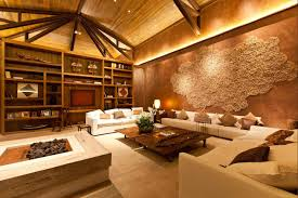 interior decoration stunning living room with stoane fireplace