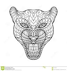 zen tangle head of jaguar stock vector image 70144342