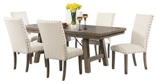 dex 7 piece dining set table and 6 upholstered side chairs