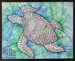 original watercolor u0026 ink zentangle turtle painting