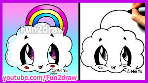 how to draw cartoons rainbow cloud fun2draw cute easy things