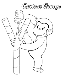 curious george head coloring