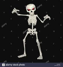 illustration of a scary skeleton cartoon isolated on a black stock