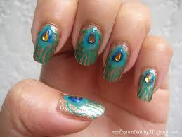 peacock nail art design nails by nataliya superb glittery peacock