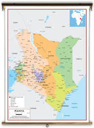 Political Map Africa by Kenya Political Educational Wall Map From Academia Maps