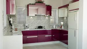 Kitchen Modular Designs by Modular Kitchen Idea With Purple Scheme Combined With White Idea