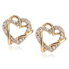 gold earrings design with weight new arrival fashion new model yellow gold earring designs heart