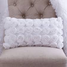 white rosette throw pillow shabby chic from cloudhunterco on etsy