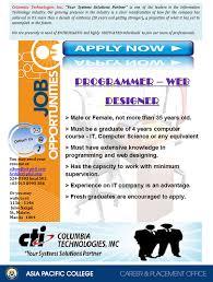 jobs asia pacific college
