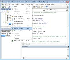ms excel 2013 project explorer in vba environment