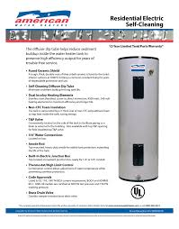 american water heater 50 gallon short standard electric water