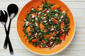kale salad with persimmons feta and crisp prosciutto recipe
