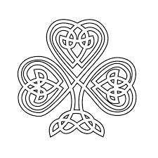 celtic shamrock black white line flower art coloring sheet