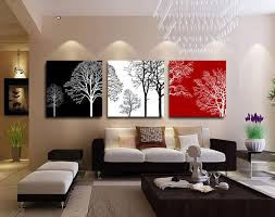 Aliexpress Home Decor Aliexpress Com Buy 3 Panels Canvas Black White Red Tree Painting