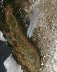 California Wildfire Satellite View by Rim Fire California Natural Hazards