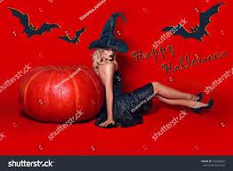 beautiful witch black dress stock photo 725836042