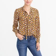long sleeve printed tie neck top factorywomen blouses u0026 tops