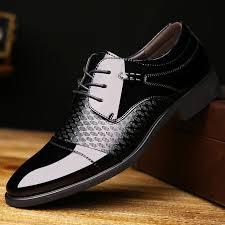 vintage genuine leather men business shoes derby black patent