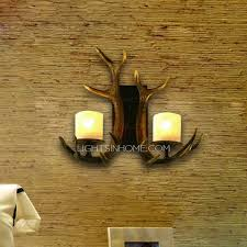 Country Sconces Antler Wall Sconces 2 Light Resin Painting Finish
