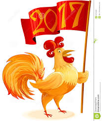 chinese new year 2017 rooster flag symbol cartoon character colo