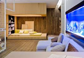 Neutral Living Room Wood Cladding Interior Design Ideas - Wood living room design