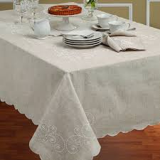 lenox perle embroidered linen blend tablecloth free