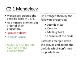 Mendeleev Periodic Table 1871 C2 Revision Powerpoint