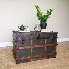 storage chest trunk industrial home decor steamer trunk coffee