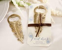 bottle opener favor gold feather bottle opener my wedding favors