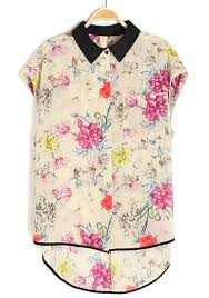 floral chiffon blouse multicolor floral print irregular lapel sleeveless chiffon blouse