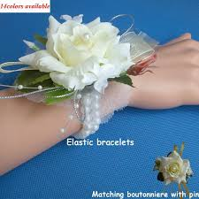 Prom Corsage And Boutonniere Wedding Or Prom Wrist Corsage With Bracelet Silk Rose