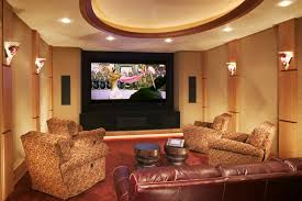 recliner couch in home theater rustic with cove ceiling next to