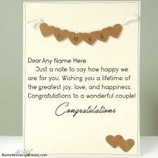 wedding day congratulations on happy marriage day with name cards