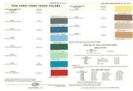 1958 ford car truck paint color chart 58 ford fairlane galaxie f