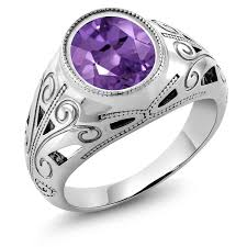 mens rings with images 4 60 ct oval purple amethyst 925 sterling silver men 39 s ring jpg