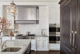 Restoration Hardware Kitchen Faucet by White Kitchen Cabinets With White Arabesque Tiles Transitional