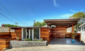 Beach House In Laguna Beach - exterior redwood siding midcentury modern architecture concrete
