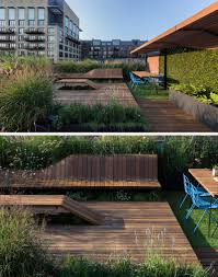Rooftop Deck Design by This Rooftop Deck Has Custom Designed Wood Benches Surrounded By