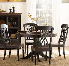 transitional dining room tables homelegance ohana round pedestal dining table in black u0026 cherry