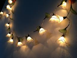 Hanging Patio Lights String 20 Bulbs White Himalayas Flower With Leaf String Lights For